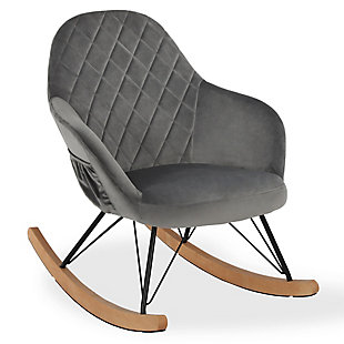 Little Seeds Monarch Hill Dahlia Nursery Rocker Chair, Gray Chenille, Dove Gray, large