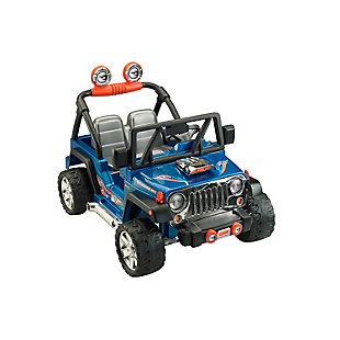 Fisher-Price Power Wheels Hot Wheels Jeep Wrangler, Blue 12-Volt, , large