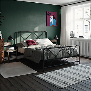 Elianna Queen Metal Farmhouse Bed, Black, rollover