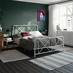 Elianna Queen Metal Farmhouse Bed, White, rollover