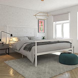 Alia  Metal Queen Bed White, White, rollover