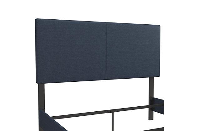 Jazmine  Upholstered Queen Bed, Navy, large