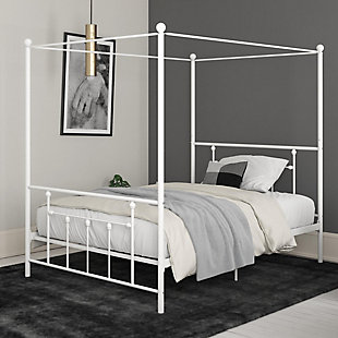 Maisie  Canopy Queen Bed, White, rollover