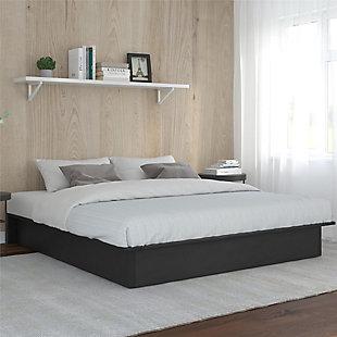 Micah  Upholstered Platform King Bed, Black, rollover