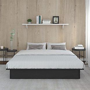 Micah  Upholstered Platform King Bed, Black, large