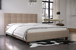Ryder  Queen Upholstered Bed, Tan, rollover