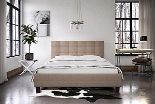 Ryder  Queen Upholstered Bed, Tan, large