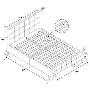 Ryder  Upholstered Queen Bed, Blue, large