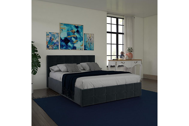 Ryder  Queen Upholstered Bed with Storage, Blue, large