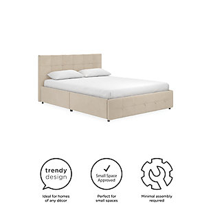 Ryder  Queen Upholstered Bed with Storage, Ivory, large