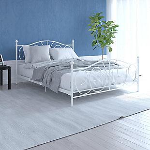 Vinci  Queen Metal Bed, White, rollover