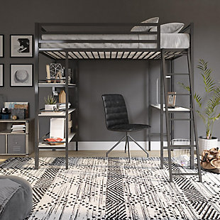 Little Seeds Nova Twin Metal Loft Bed with Shelves, Gunmetal Gray, , rollover