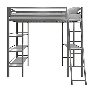 Little Seeds Nova Twin Metal Loft Bed with Shelves, Gunmetal Gray, , large