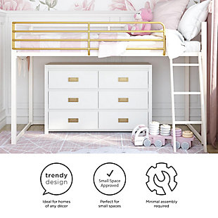 Little Seeds Monarch Hill Haven Twin Metal Junior Loft Bed, White, White, large