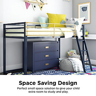 Little Seeds Monarch Hill Haven Twin Metal Junior Loft Bed, Navy, Navy, large
