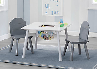 Delta Children Finn Table and Chair Set with Storage, White/Gray, , rollover