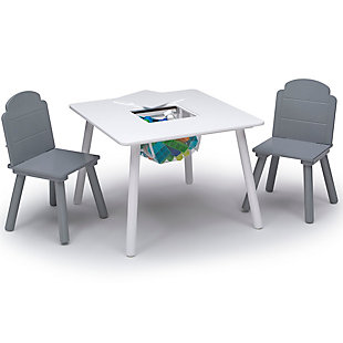 Delta Children Finn Table and Chair Set with Storage, White/Gray, , large