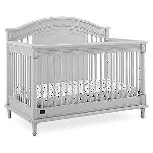 Delta Children Kids Juliette 6-in-1 Convertible Crib with Toddler Rail, Moonstruck Gray, Light Gray, large