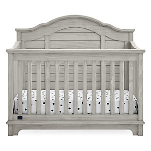 Delta Children Kids Asher 6-in-1 Convertible Crib with Toddler Rail, Rustic Mist, Black/Gray, large