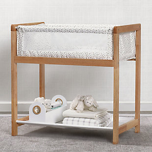 Delta Children Classic Wood Bedside Bassinet Sleeper - Portable Crib with High-End Wood Frame, Paint Dabs, Brown, rollover