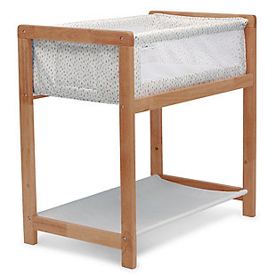 Delta Children Classic Wood Bedside Bassinet Sleeper - Portable Crib with High-End Wood Frame, Paint Dabs, Brown, large