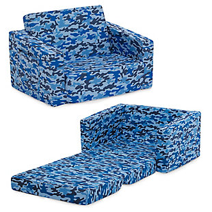 Delta Children Cozee Flip-Out Chair - 2-in-1 Convertible Chair to Lounger for Kids, Blue Camo, , large