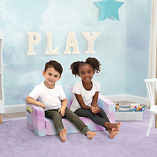 Delta Children Cozee Flip-Out Sofa - 2-in-1 Convertible Sofa to Lounger for Kids, Pink Tie Dye, , rollover
