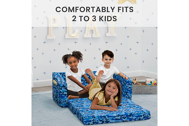 Delta Children Cozee Flip-Out Sofa - 2-in-1 Convertible Sofa to Lounger for Kids, Blue Camo, , large