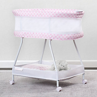 Delta Children Sweet Dreams Bassinet with Airflow Mesh, Pink Infinity, Pink, rollover