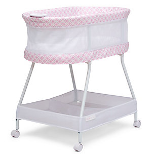 Delta Children Sweet Dreams Bassinet with Airflow Mesh, Pink Infinity, Pink, large