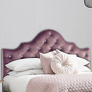 Benzara Twin Size Upholstered Headboard with LED Lights, Purple, Purple, rollover