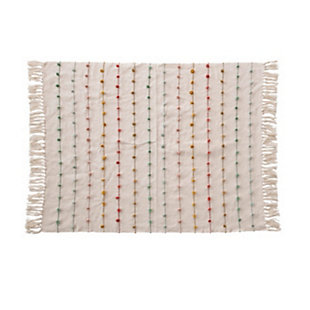 Creative Co-Op Cotton Knit Baby Blanket with Tassels and Multi Color Embroidery Loop, , large