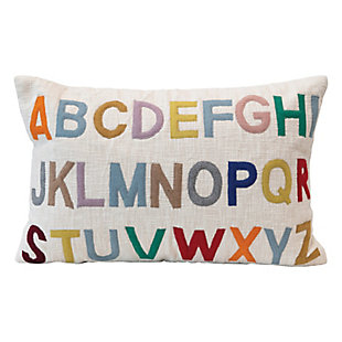 Creative Co-Op Cotton Lumbar Pillow with Embroidered Alphabet, Multi Color, , large