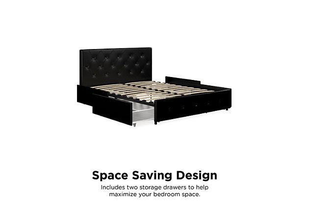 Atwater Living Dana Upholstered Bed with Storage, Full, Black Faux Leather, , large