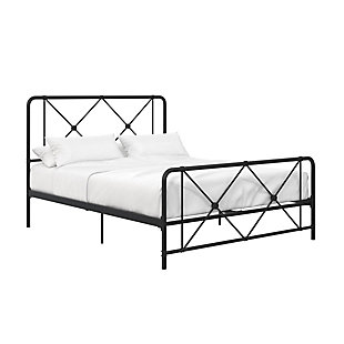 Atwater Living Elianna Metal Farmhouse Bed, Full Black, Black, large