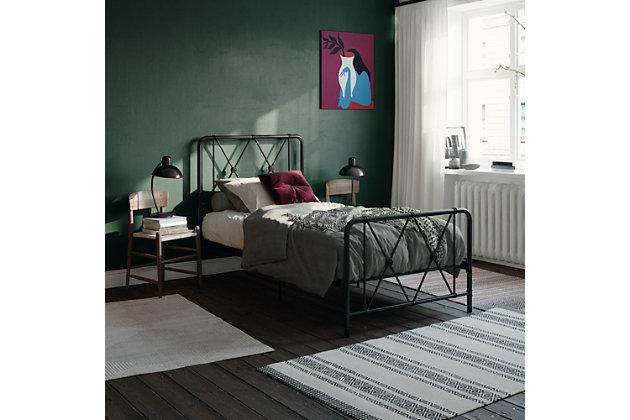 Atwater Living Elianna Metal Farmhouse Bed, Twin Black, Black, large
