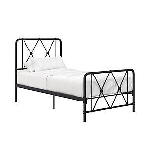 Atwater Living Elianna Metal Farmhouse Bed, Twin Black, Black, large