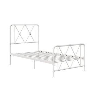 Atwater Living Elianna Metal Farmhouse Bed, Twin White, White, large