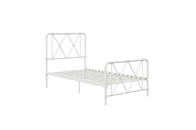 Atwater Living Elianna Metal Farmhouse Bed, Twin White, White, large