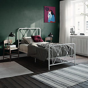 Atwater Living Elianna Metal Farmhouse Bed, Twin White, White, rollover