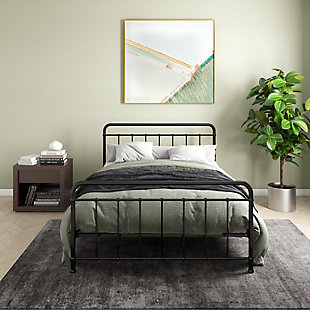 Atwater Living Belmont Full Metal Bed, Black, Black, rollover