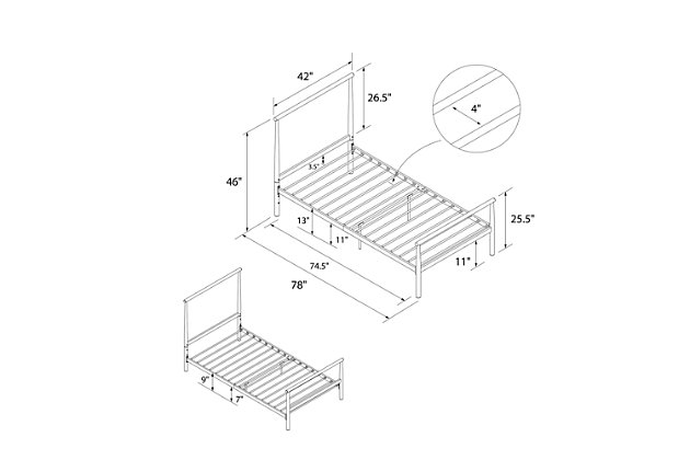 Atwater Living Alia Metal Bed, Twin White, White, large