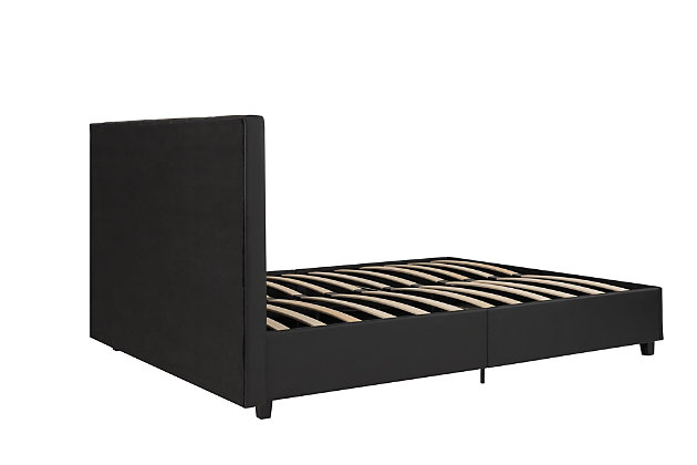 Atwater Living Elvia Upholstered Bed, Full, Black Faux Leather, , large