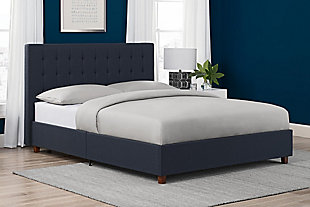 Atwater Living Elvia Upholstered Bed, Full, Navy, Navy, rollover