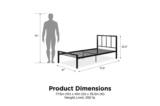 Atwater Living Fia Metal Bed, Black, Twin, , large