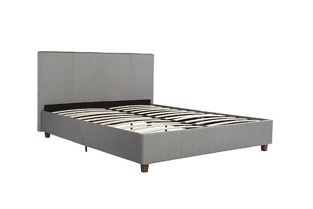 Atwater Living Monet Upholstered Bed, Gray Linen , Full, , large