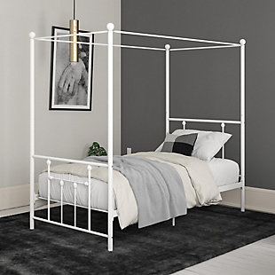 Atwater Living Maisie Canopy Bed, White, Twin, White, rollover