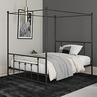 Atwater Living Maisie Canopy Bed, Black, Full, Black, rollover