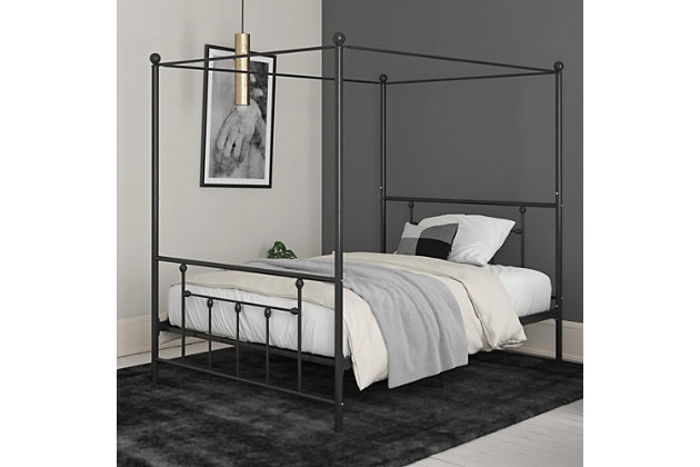 Atwater Living Maisie Canopy Bed, Black, Full, Black, large