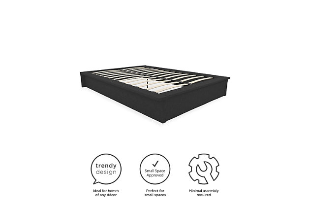 Atwater Living Micah Upholstered Platform Bed, Full, Gray Linen, , large